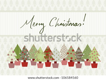 Handwritten Merry Christmas Card in traditional color scheme with hand-drawn Christmas tree design. Raster Version.