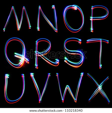 Handwritten Neon Light Alphabets