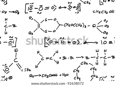 Handwritten seamless repeatable chemical formulas isolated on white background
