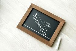 Handwritten steps with bonus word and business man pictogram on blackboard frame
