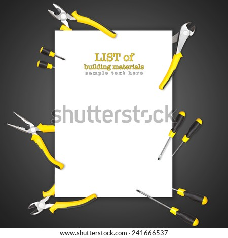 Handy tools forming background paper frame with pilers, claw and screwdriver on white-black gradient background
