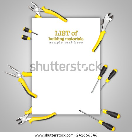 Handy tools forming background paper frame with pilers, claw and screwdriver on white-grey gradient background
