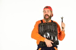 Handyman concept. Professional equipment. Really good tools. What to Carry in Your Car Toolbox. Man in uniform carries toolbox white background. Worker repairer repairman handyman carrying toolbox.