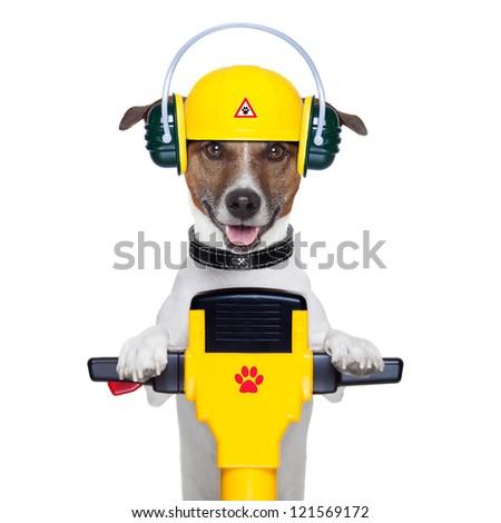 handyman dog work in progress with jackhammer