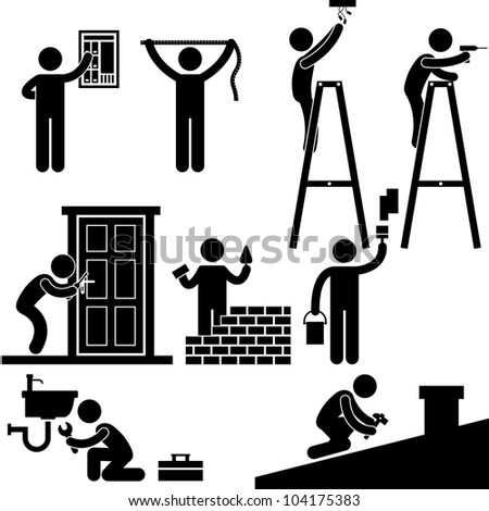 Handyman Electrician Locksmith Contractor Working Fixing Repair House Light Roof Icon Symbol Sign Pictogram