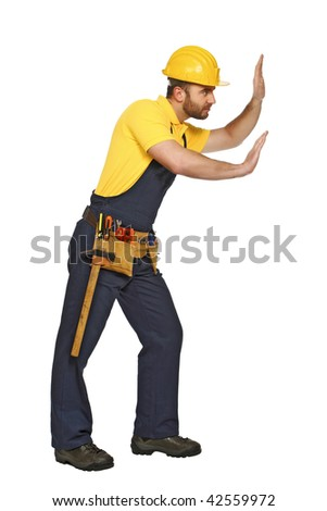 handyman in push position isolated on white background suitable for composition