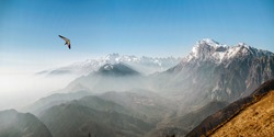 Hang glider in the mountains