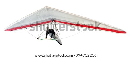Hang glider soaring the thermal updrafts suspended on a harness below the wing, isolated on white Сток-фото ©