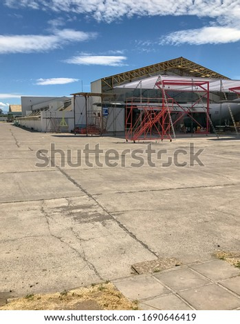 hangar for airplanes and and repair area