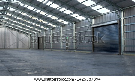 Hangar interior with rolling gates. 3d illustration #1425587894