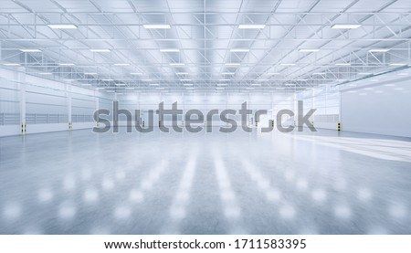 Hangar or industrial building i.e. factory, warehouse, workshop, hall or garage. Modern interior design with polished concrete floor, roller door and empty space for industry background. 3d rendering.