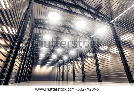 Hangar, warehouse with vintage retro lamps. 3D rendering. #532792996