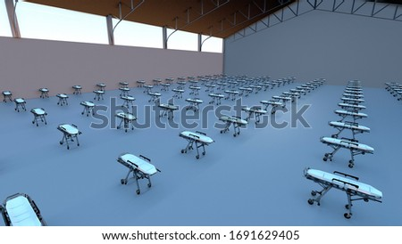 Hangar with Hospital Beds 3D image