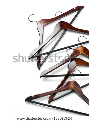 Hangers isolated on the white background