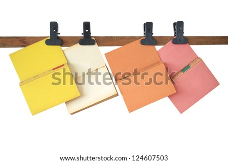 Hanging books, isolated, free copy space - stock photo