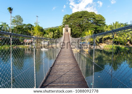 hanging bridge at loboc river , Bohol island , Philippines