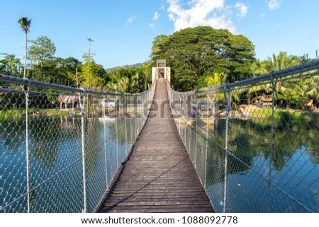 hanging bridge at loboc river , Bohol island , Philippines