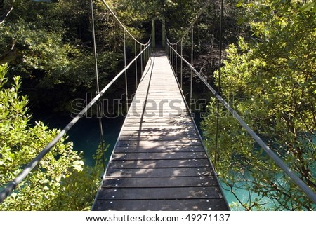 hanging bridge over a river