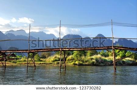 hanging bridge over the  Song river at Vang Vieng, Laos