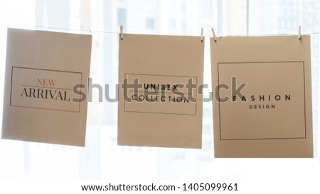 Hanging brown papers website banner template #1405099961