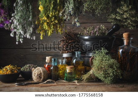 Hanging bunches of medical herbs, mortar and bowl with dried medicinal plants, infusion and essential oil bottles. Alternative medicine. Foto stock ©