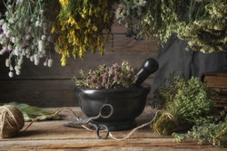 Hanging bunches of medicinal herbs, black stone mortar with dried plants. Alternative medicine.