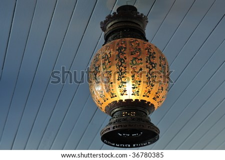 Hanging chinese lantern in historic building butchart gardens in vancouver island, british columbia, canada