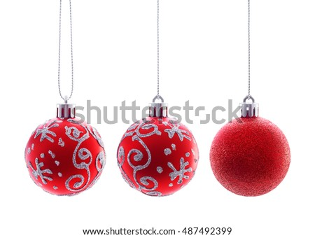 Hanging Christmas Baubles isolated on white background #487492399