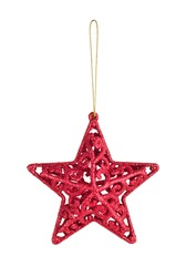 Hanging Christmas red star bauble on gold thread isolated on white background