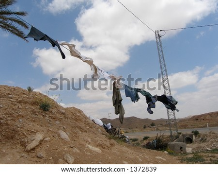Hanging clothes near the desert