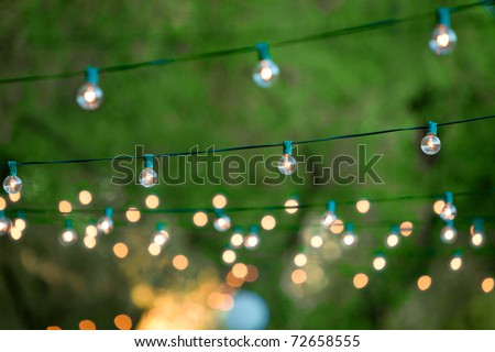Hanging decorative christmas lights for a back yard party