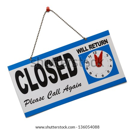 Hanging door sign that says closed and is isolated on a white background.