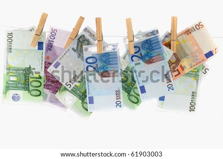 Hanging European notes, representing the power of being able to spend money. #61903003