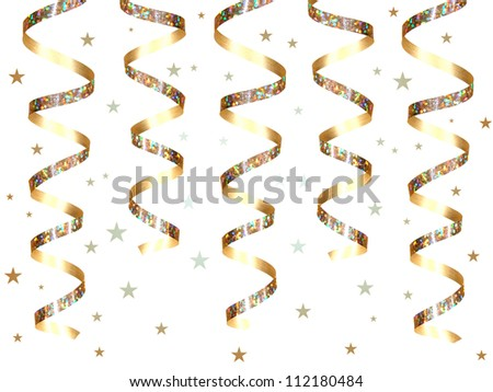 Hanging gold party streamers with confetti over white
