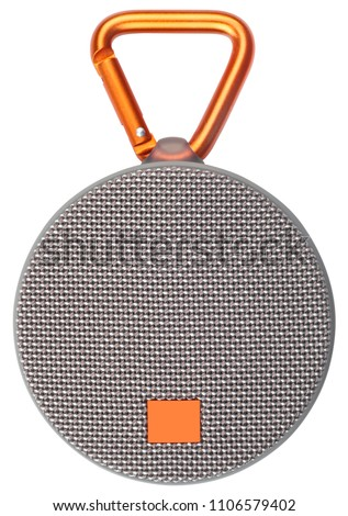 Hanging gray wireless speaker isolated on white background. #1106579402