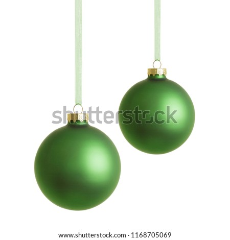 Hanging green christmas baubles isolated on white background. #1168705069