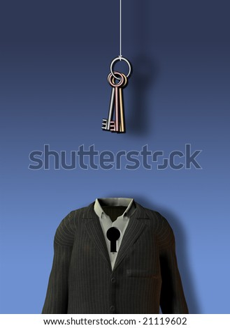 Hanging keys and empty suit