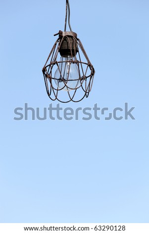 Hanging lamp with blue sky