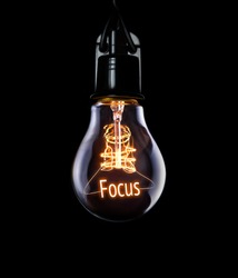Hanging lightbulb with glowing Focus concept.