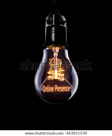 Hanging lightbulb with glowing Online Presence concept.