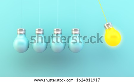 hanging lightbulbs with one switched on 3d rendering concept
