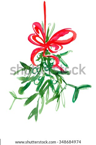 Hanging mistletoe with red bow painted in watercolor on white isolated background