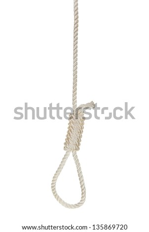 Hanging noose on a white rope isolated