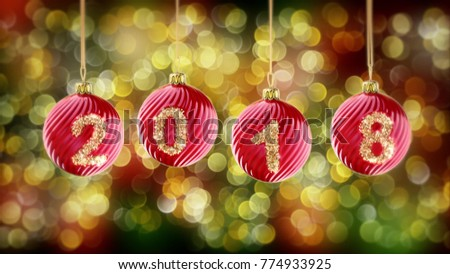Stock Photo hanging 2018 number glitter Christmas balls on gold bokeh background. 3d rendering 4K