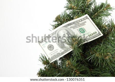 Hanging on a Christmas tree bill of one hundred dollars