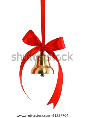 Hanging on a ribbon golden bell with red satin bow isolated on white