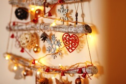 hanging on the wall alternative wooden christmas tree/ with wooden tree decorations/christmas and new year background