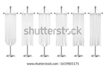Hanging pennant. Blank white pennants banners, sports textile advertising flags, vertical canvas on flagpole stand hang old isolated sample fabric mockups