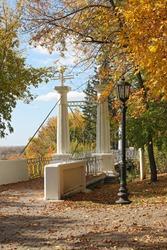 Hanging stone bridge in the park