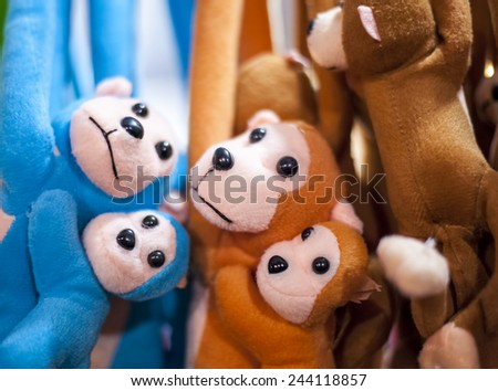 hanging toys in the shop. image contain selective focus point